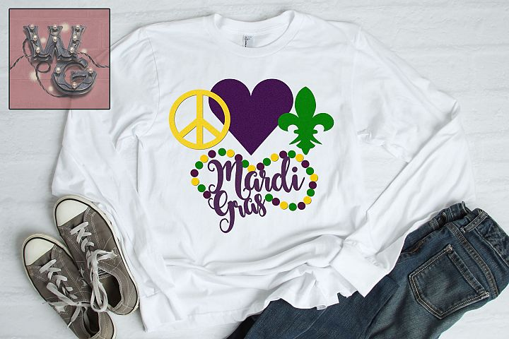 Peace Love Mardi Gras SVG DXF PNG EPS Commercial