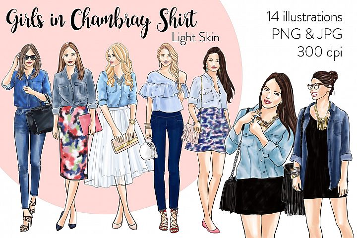 Fashion illustration clipart-Girls in Chambray Shirt - Light