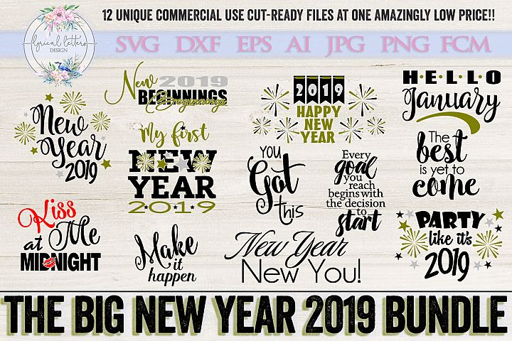 The Big New Year 2019 Bundle of 12 SVG DXF FCM Cut Files