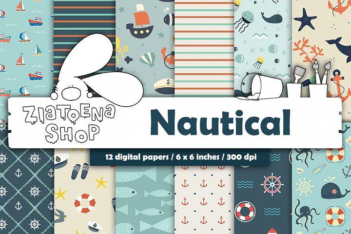 Nautical digital paper pack Navy Patterns Sea Anchor Ship