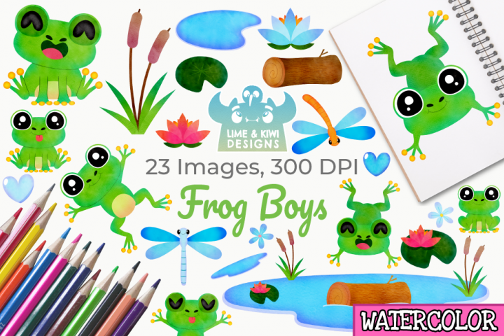 Frog Boys Watercolor Clipart, Instant Download Vector Art
