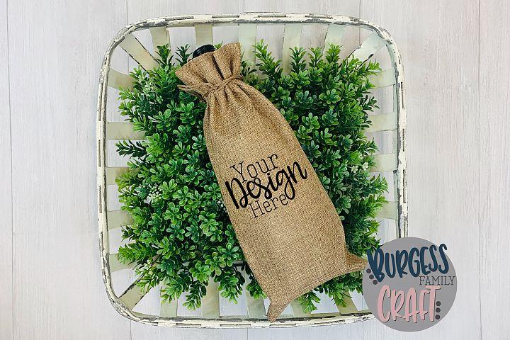 Spring wine gift bag Craft mock up