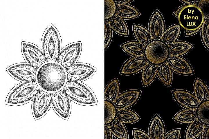 Mandala Dotwork Tattoo and Seamless Patterns