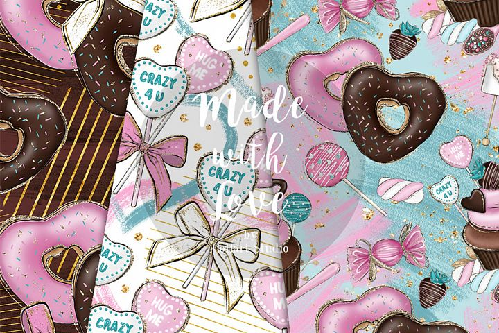 Valentine's Day Digital papers, Love seamless patterns example image 5