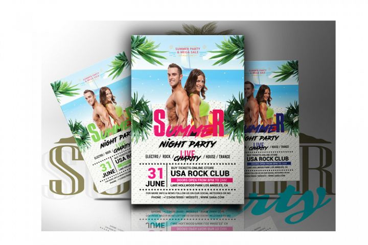 Summer Beach Night Party Flyer
