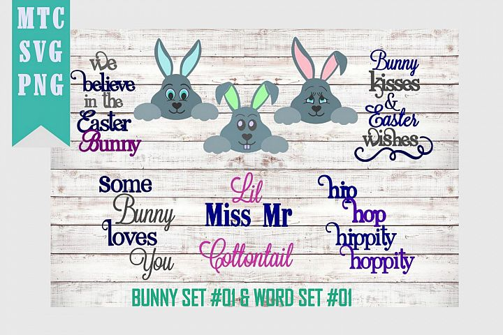 Peeping Easter Bunny Set #1 with Sayings Set #1 SVG Cut File