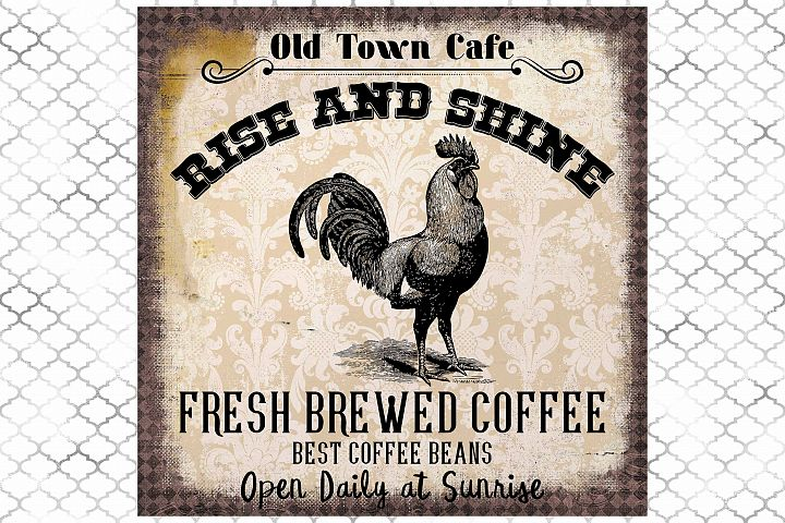 Vintage Coffee Cafe Sign, Rooster, Art Print Sublimation PNG
