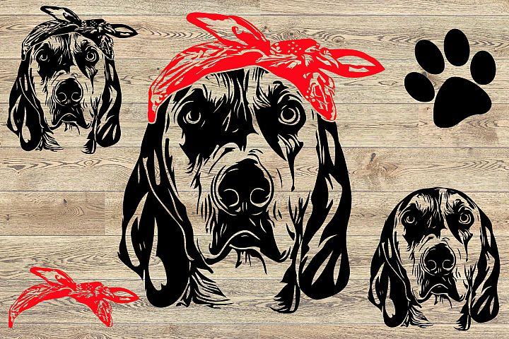 Dog Whit Bandana Puppy Family Pet 859S