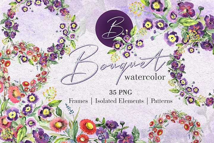 Bouquet with wildflowers Watercolor png