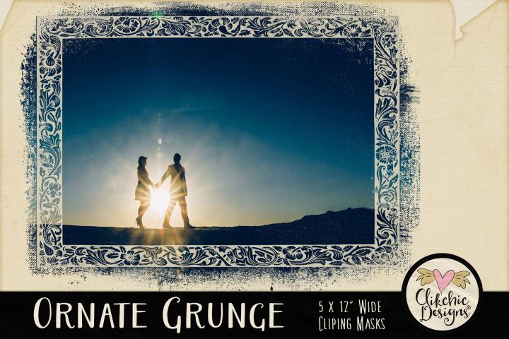 Grunge Clipping Masks - Ornate Photoshop Masks & Tutorial
