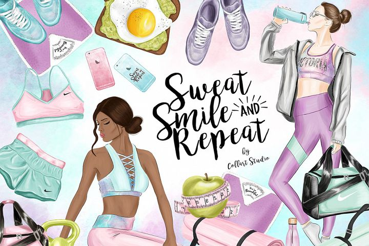 Fitness clip Art, Workout Gym Stickers, Fitness Illustration