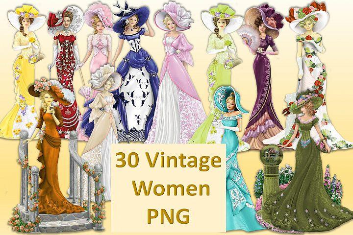 30 Vintage Victorian WOmen CLipart Bundle CU