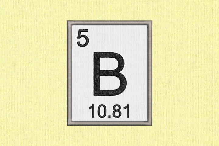 Periodic Table Element 5 B Boron Applique Embroidery