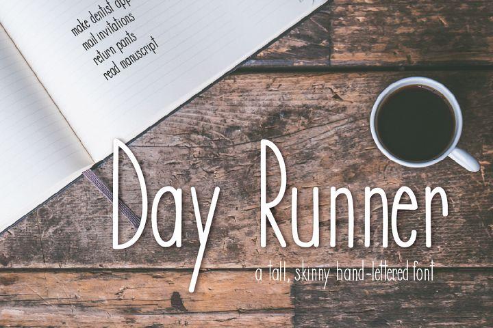 Day Runner Font - a tall, skinny, handwritten font