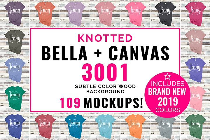 Bella Canvas 3001 Mockup Bundle, Knotted Tshirt Mockup