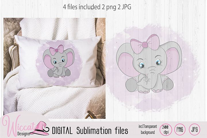 Pink Baby girl Elephant with big bow