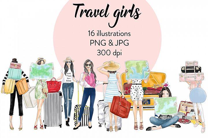 Travel girls fashion clipart