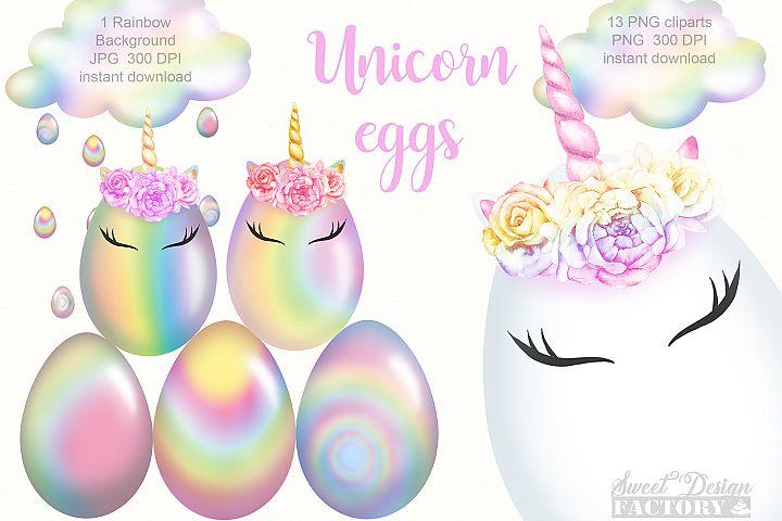 Unicorn eggs clipart