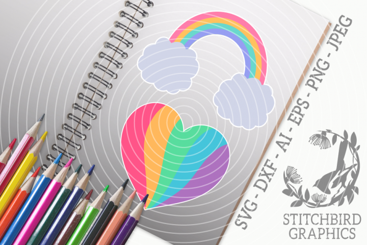 Rainbow Love Bundle SVG, Silhouette Studio, Cricut, Eps