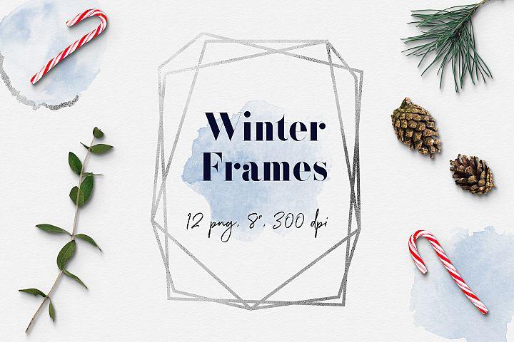 Winter Frame Clipart, Frozen Geometric Frames