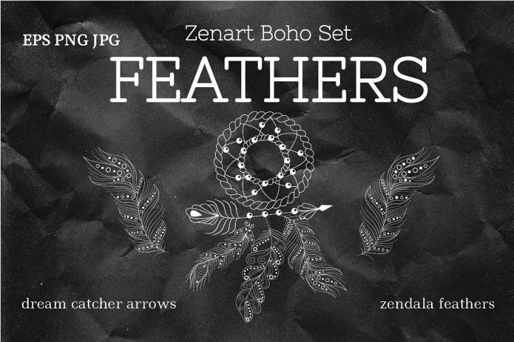 Zenart Boho Feathers Set
