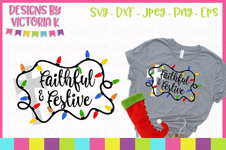 Faithful and Festive, Christmas, SVG, DXF