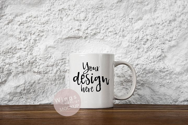 Blank White Mug Mockup PSD/JPEG Files - Rustic White Wall
