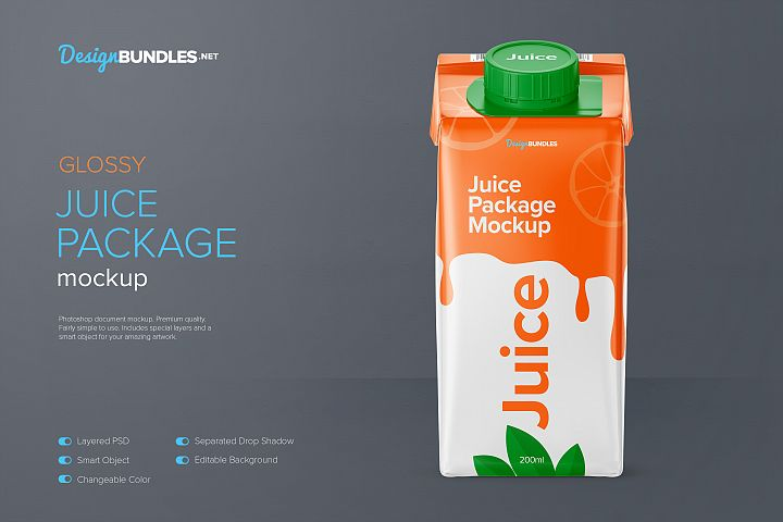 200ml Glossy Juice Carton Package Mockup - Front View