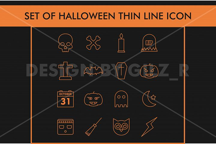 Set Halloween Thin Line Icon Monoline Orage Color Isolated in Black Background For Web, Mobile Application, Elements