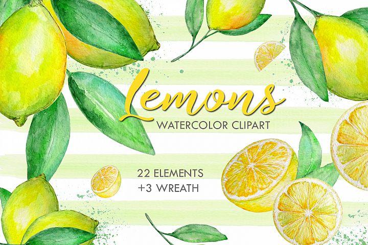 Watercolor Lemon Clipart, Tropical Fruit
