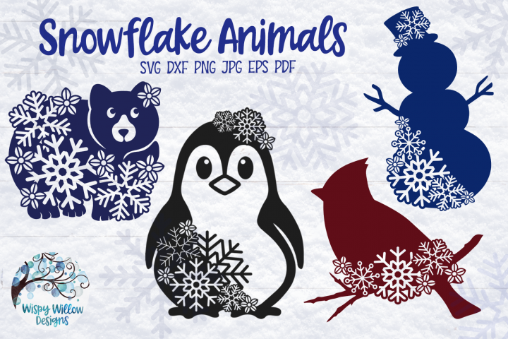 Snowflake Animal SVG Bundle | Winter Animal SVG Cut Files