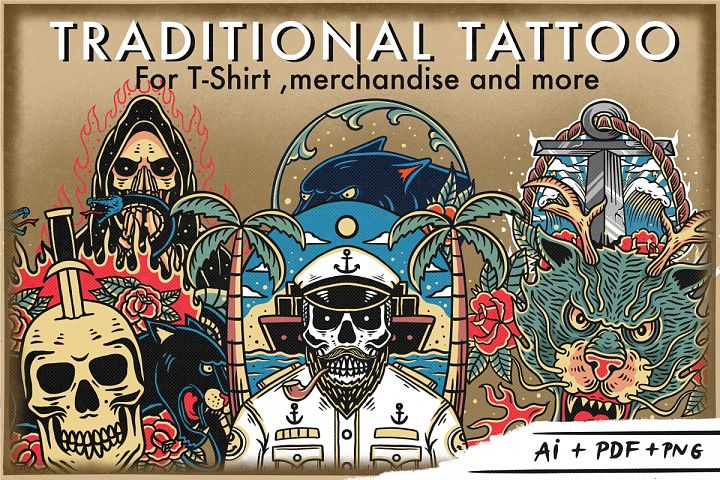 Bundle traditional tattoo design