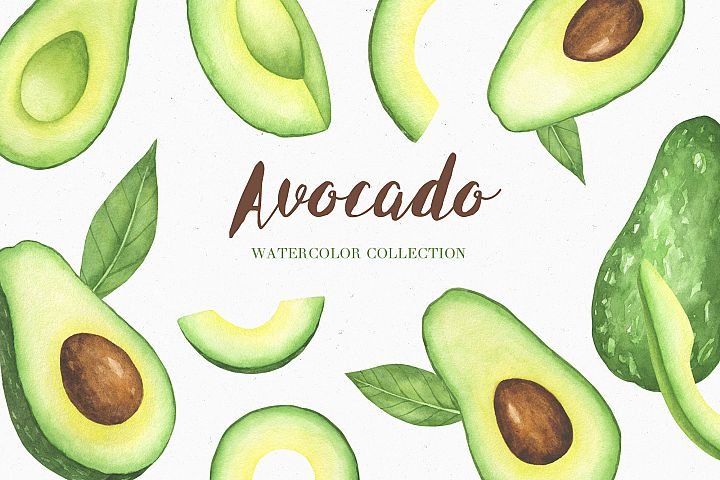 Watercolor Avocado Clipart Set and Seamless Patterns