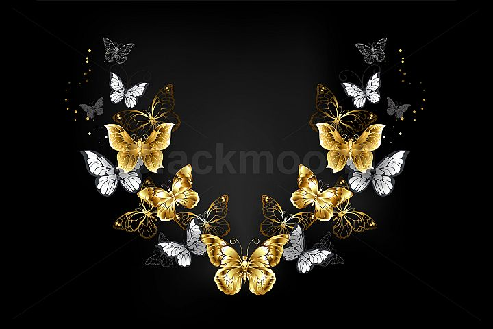 Symmetrical Pattern of Gold and White Butterflies
