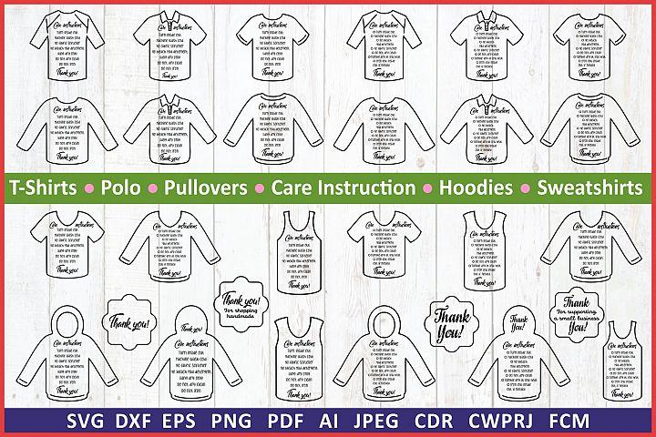 Care Card bundle TShirts svg label. Care instruction svg