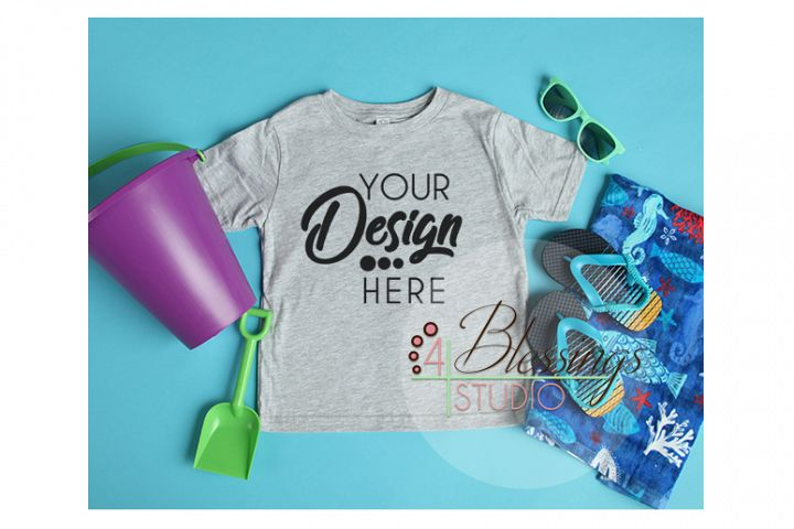 0494ff75 Kids Beach Blank Gray T Shirt Mockup Rabbit Skins Beach
