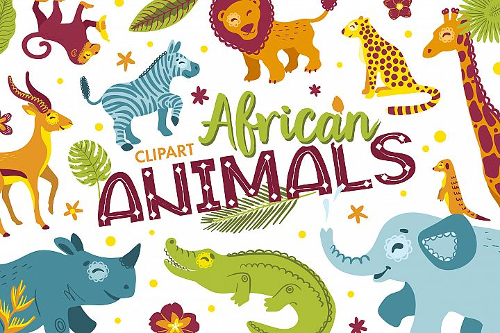 African animals clipart and alphabet vector