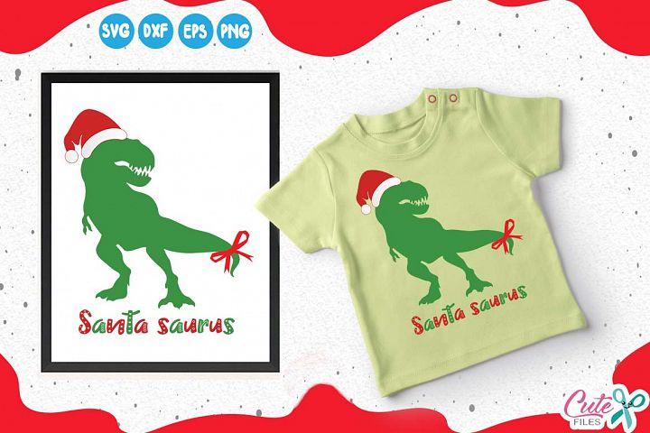Santa saurus, dinosaur with santa hat, merry christmas