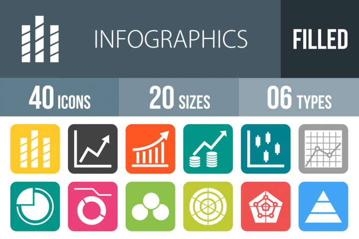 40 Infographics Filled Round Corner Icons