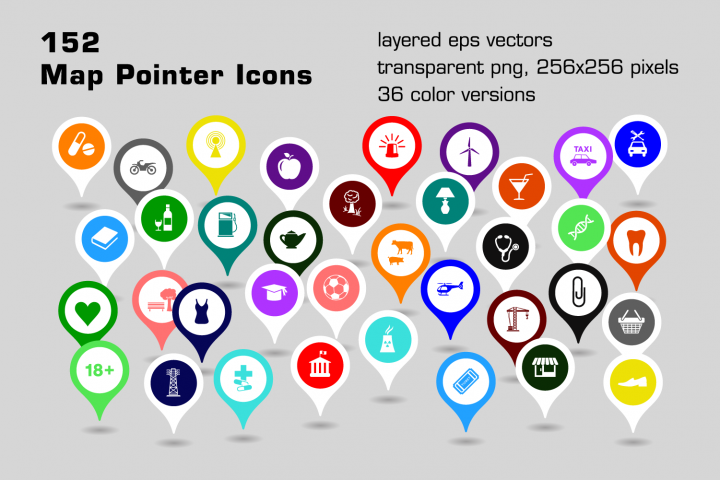 152 map pointer icons
