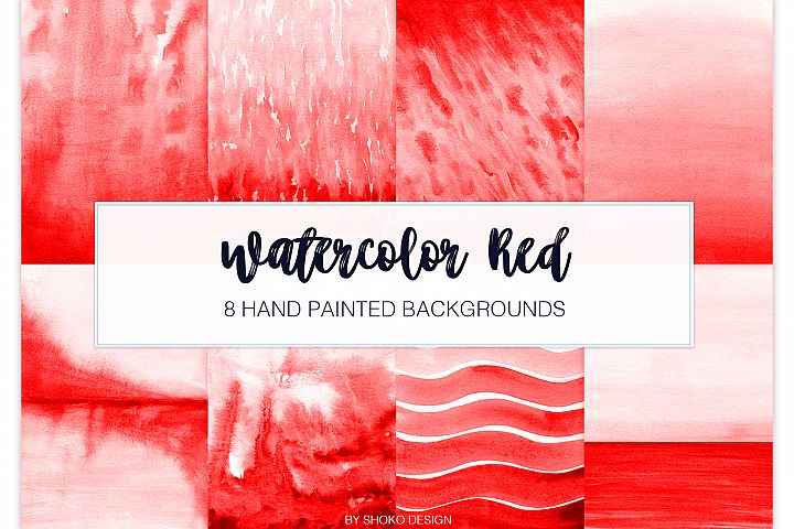 Red Watercolor 8 Hand Painted Textures abstract Backgrounds