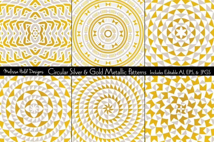 Circular Silver & Gold Metallic Patterns