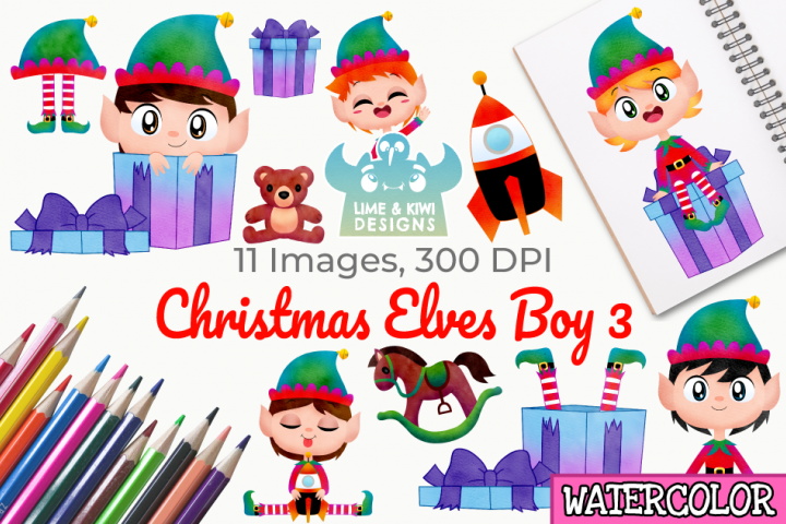 Christmas Elves Boys 3 Watercolor Clipart, Instant Download