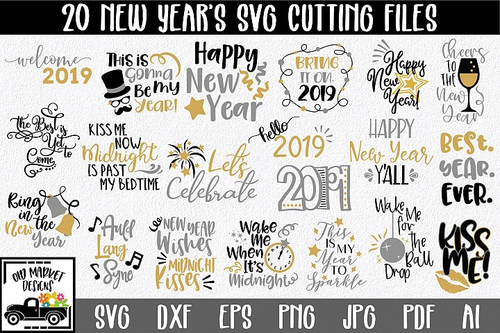 New Years SVG Bundle with 20 SVG Cut Files DXF EPS PNG