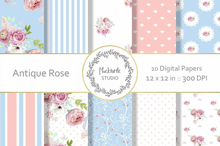 Antique Rose Floral digital paper