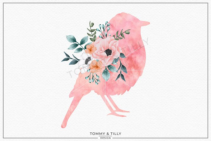 Bird No.2 Watercolour Silhouette - Sublimation PNG Clipart