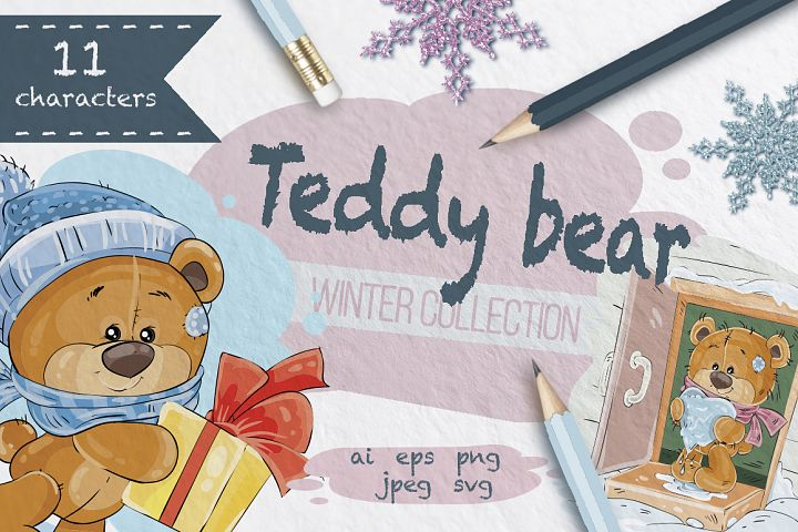 Teddy bears winter collection