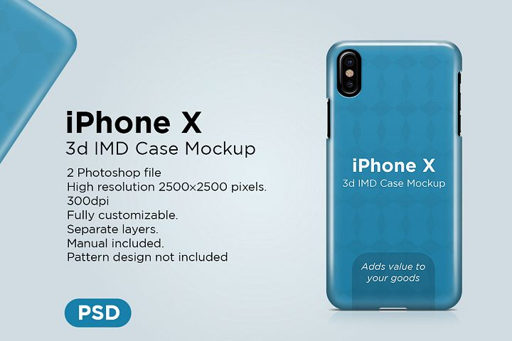 Apple iphone X 3d case Mockup