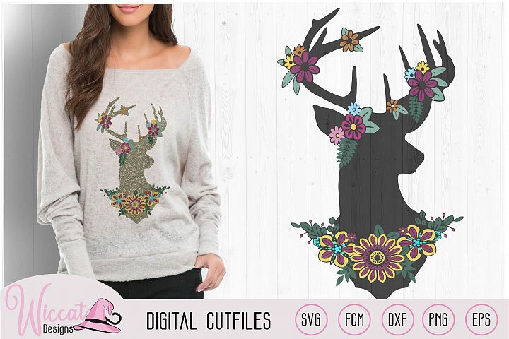 Flower Deer, Silhouette Reindeer svg, Christmas sweater