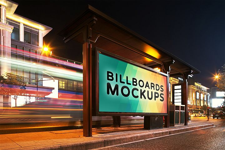Billborad Mockups at Night Vol.1